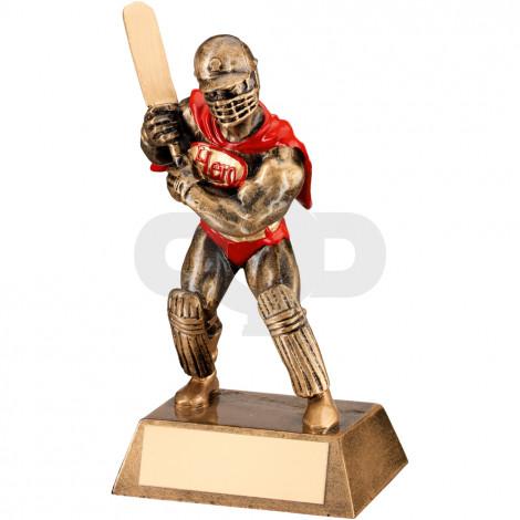 Bronze, Gold & Red Resin Cricket 'Hero' Trophy