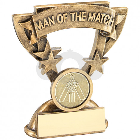 Man Of The Match Mini Cup With Cricket Insert Trophy
