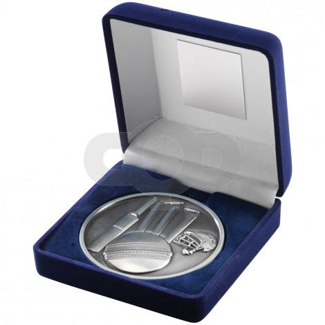 Blue Velvet Box and 70mm Medal Cricket Trophy