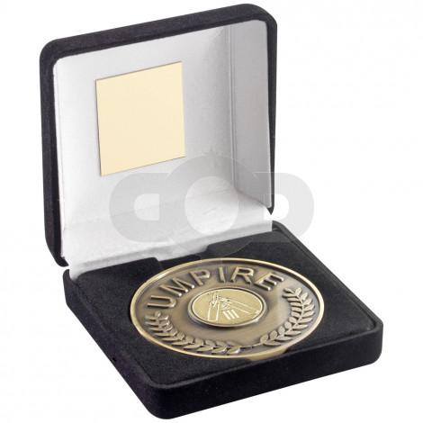 Black Velvet Box And 70mm Umpire Medallion With Cricket Insert - Antique