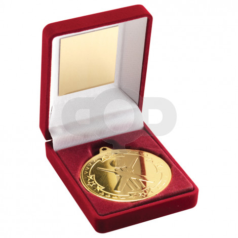 Red Velvet Box and 50mm Medal Cricket Trophy