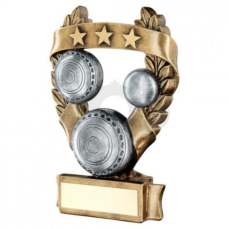 Bronze & Pewter Lawn Bowls 3 Star Wreath Award Trophy