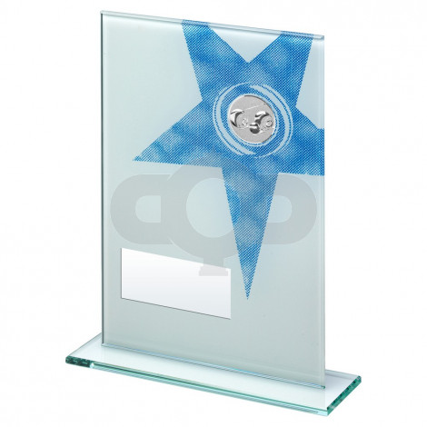 White & Blue Printed Glass Rectangle With Lawn Bowls Insert Trophy
