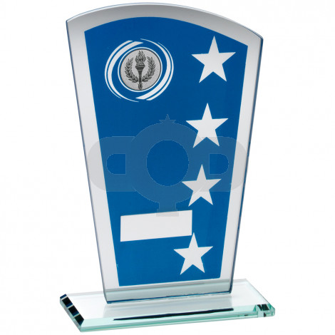 Printed Glass Shield With Wreath Star Design Trophy