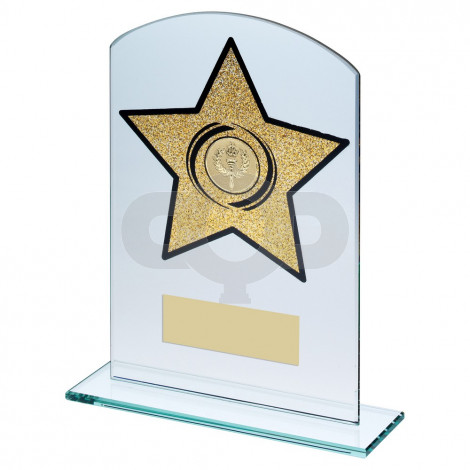Jade Glass Arched Rectangle With Gold Glitter Star Trophy