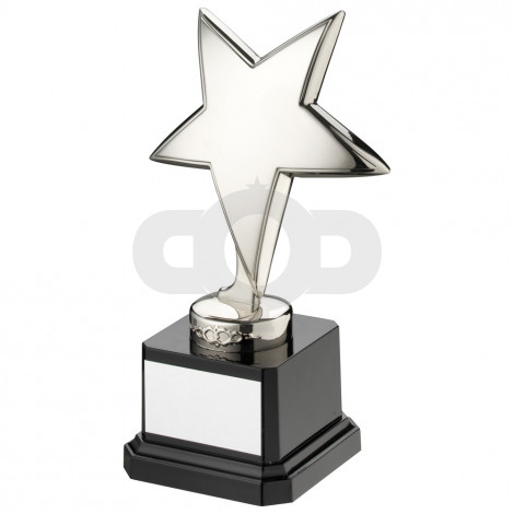 Silver Metal Star On Black Plastic Base
