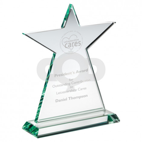 Jade Glass Tall Star Plaque (10mm Thick)