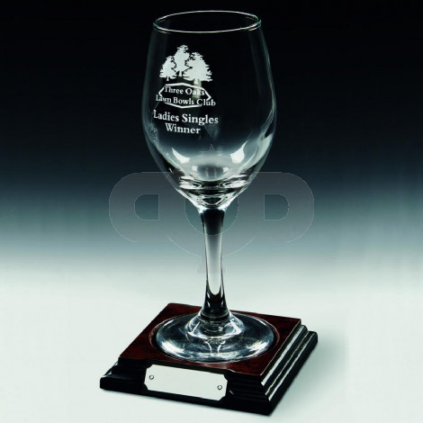 Single Wine Glass on Wood Base
