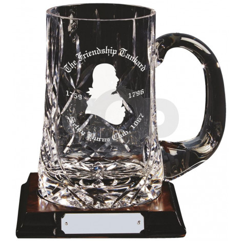 Cut Crystal Tankard on Wood Base