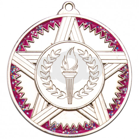 50mm Striped Star Medal With Pink Glitter