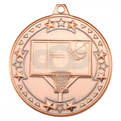 50mm Basketball 'Tri Star' Medal