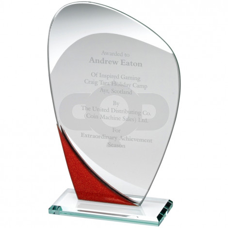 Jade Glass Curved Plaque With Red & Silver Detail