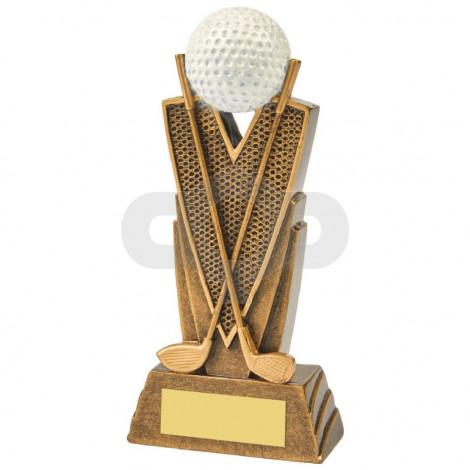 Antique Gold Golf Club & Ball Resin
