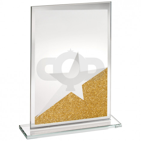 Jade Glass Rectangle Plaque With Gold & Silver Glitter Detail