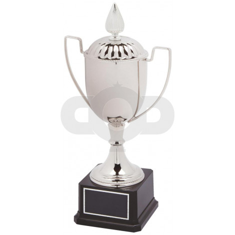 Nickel Plated Presentation Cup with Lid on Black Base