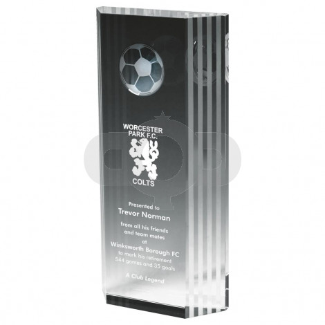 Crystal Football Award with 3D Image