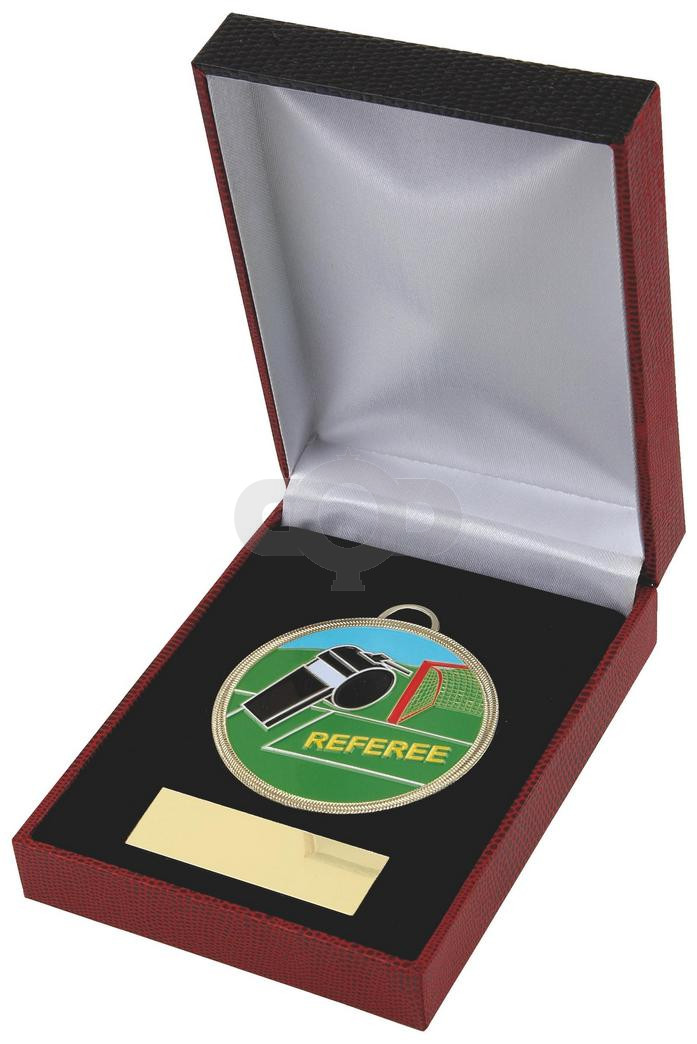 60mm Colour Football Referee Medal in Case