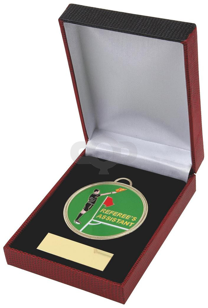 60mm Colour Referee's Assistant Football Medal in Case