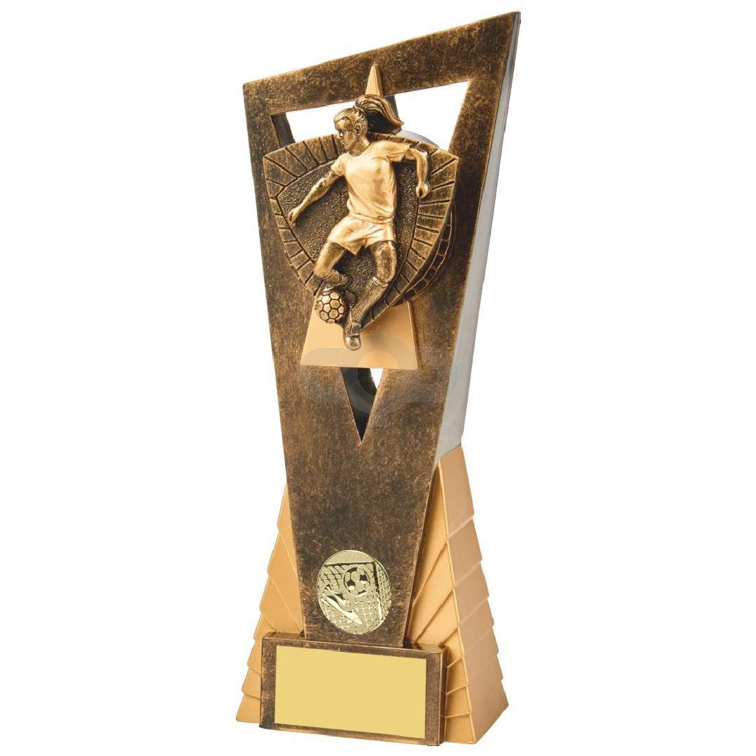 Antique Gold Female Footballer Edge Trophy