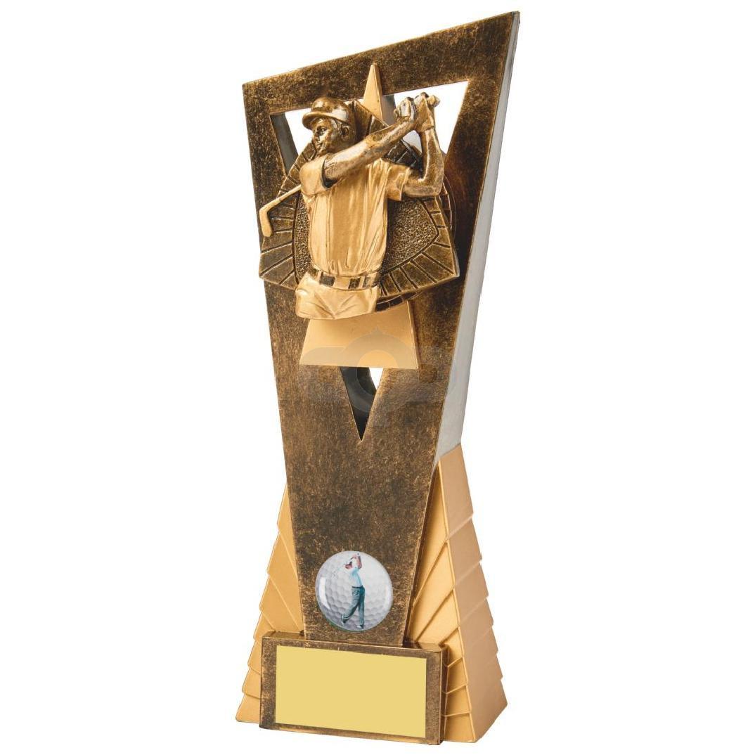 Antique Gold Male Golfer Edge Resin