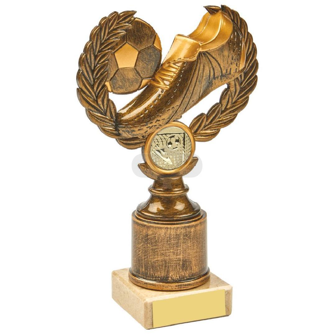 Antique Gold Boot & Ball Wreath Award