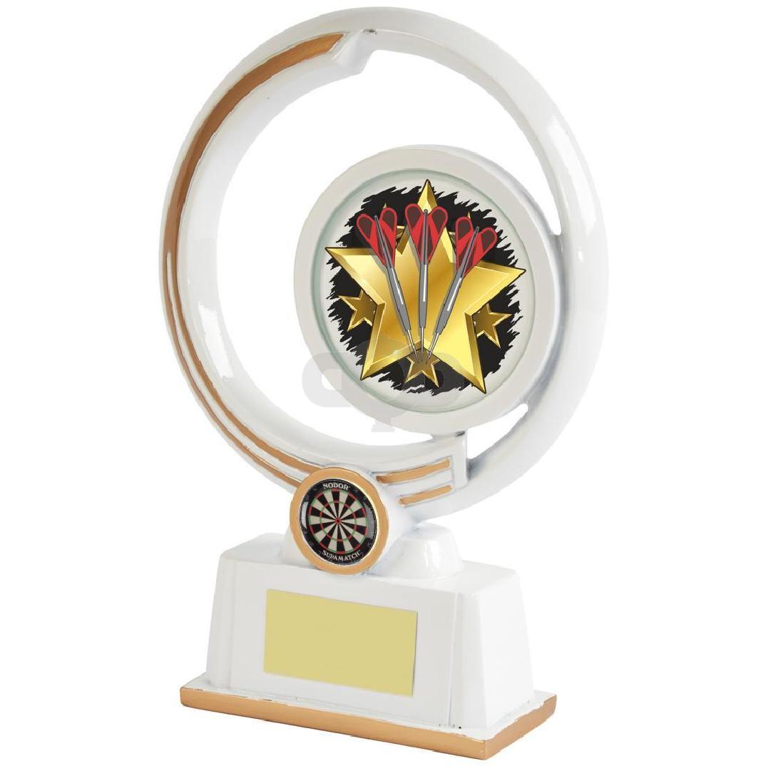 White & Gold Circular Darts Resin