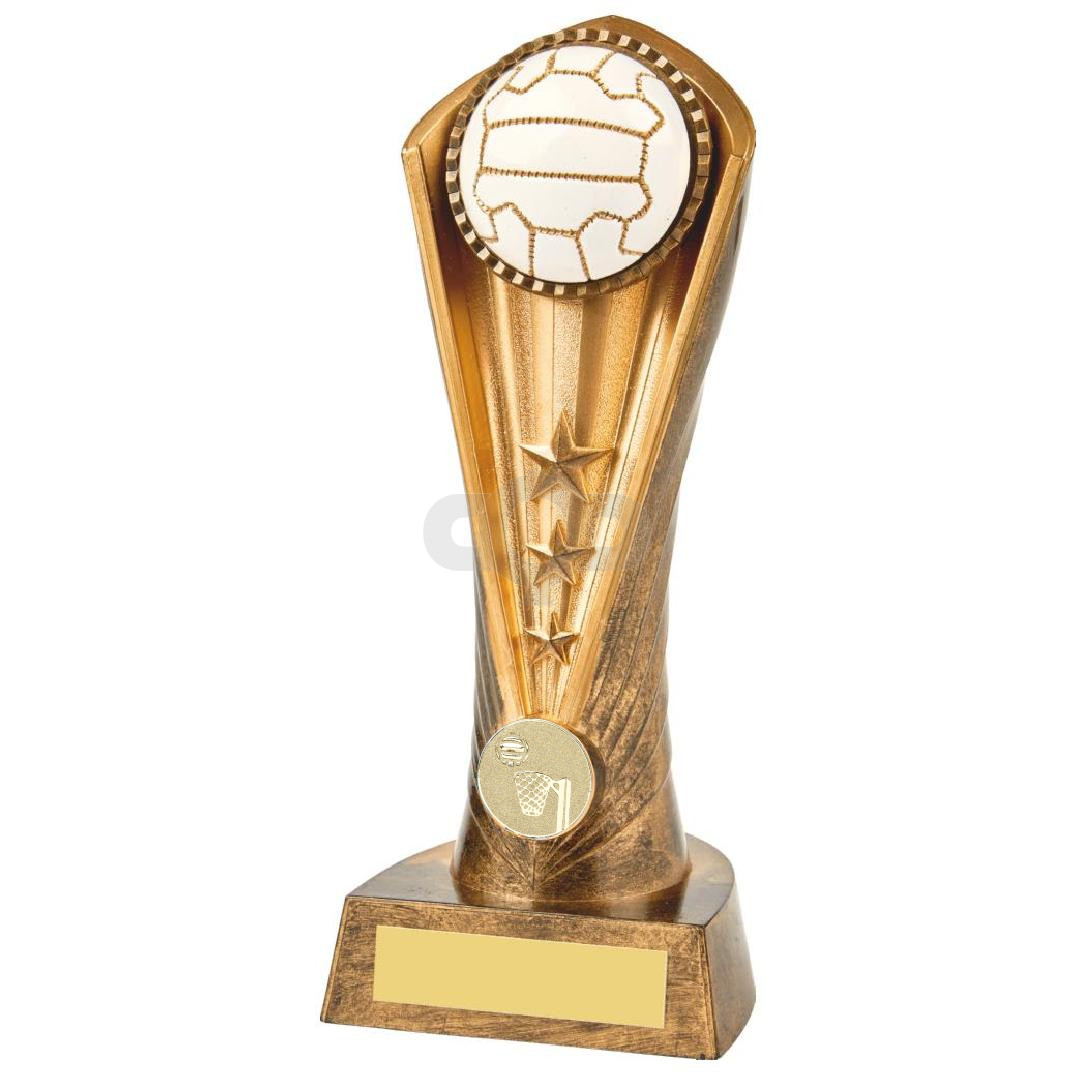 Antique Gold Netball Cobra Trophy