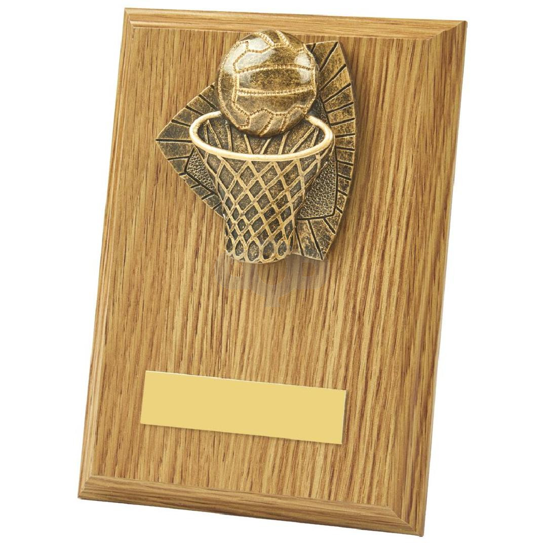 Light Oak Netball Wood Plaque Award