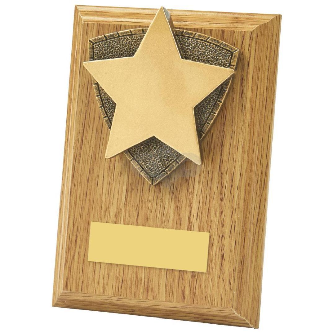 Light Oak Star Wood Plaque Award