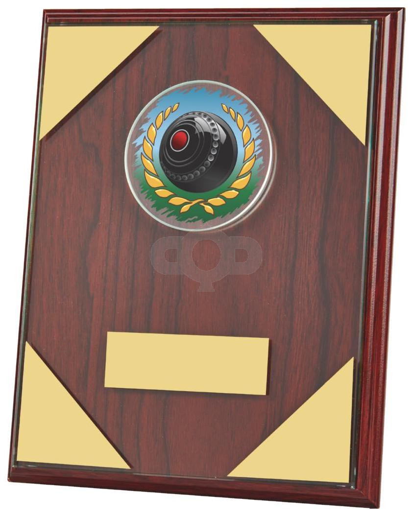 Jade Glass mounted on Wooden Plaque for Lawn Bowls