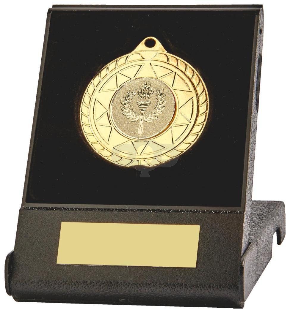 70mm Sun Burst Medal in Black Case