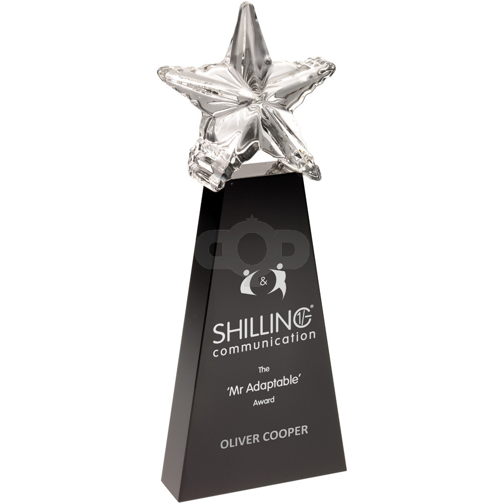 Black Glass Block With Clear Star On Top