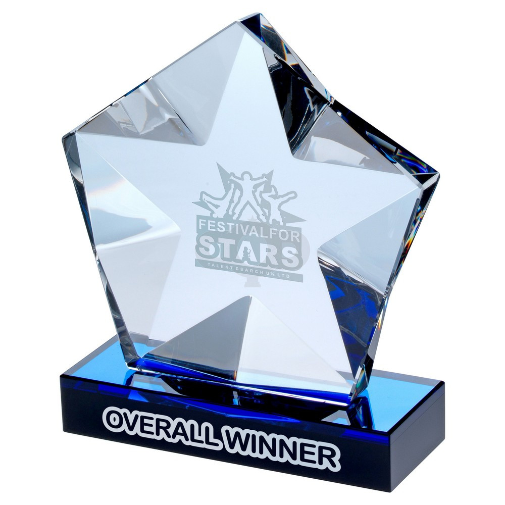Clear Glass Pentagon Plaque With Star Detail On Black & Blue Base