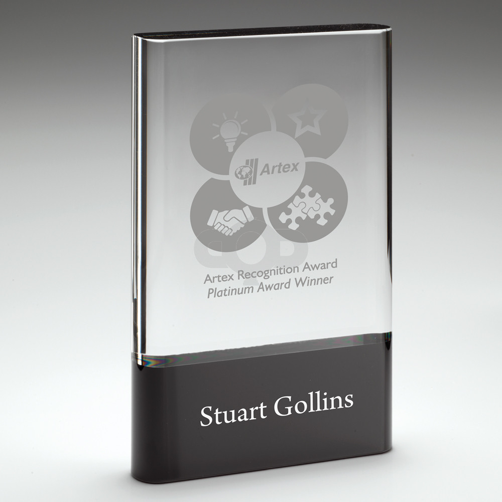 Clear Glass Plaque On Black Base