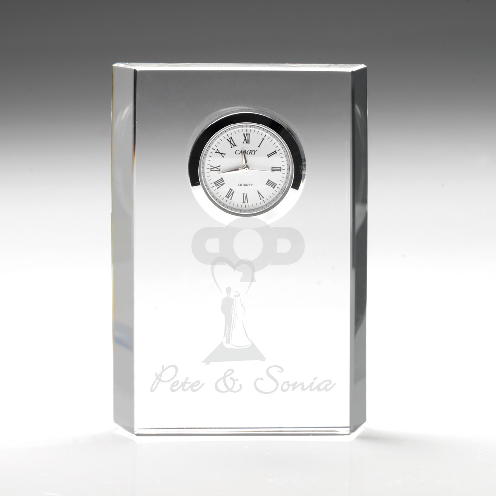 Clear Glass Rectangle Clock