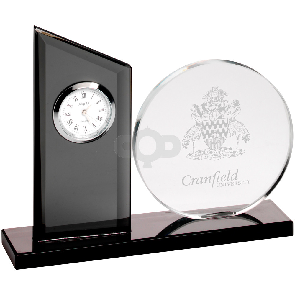 Clear Glass Clock And Round Plaque