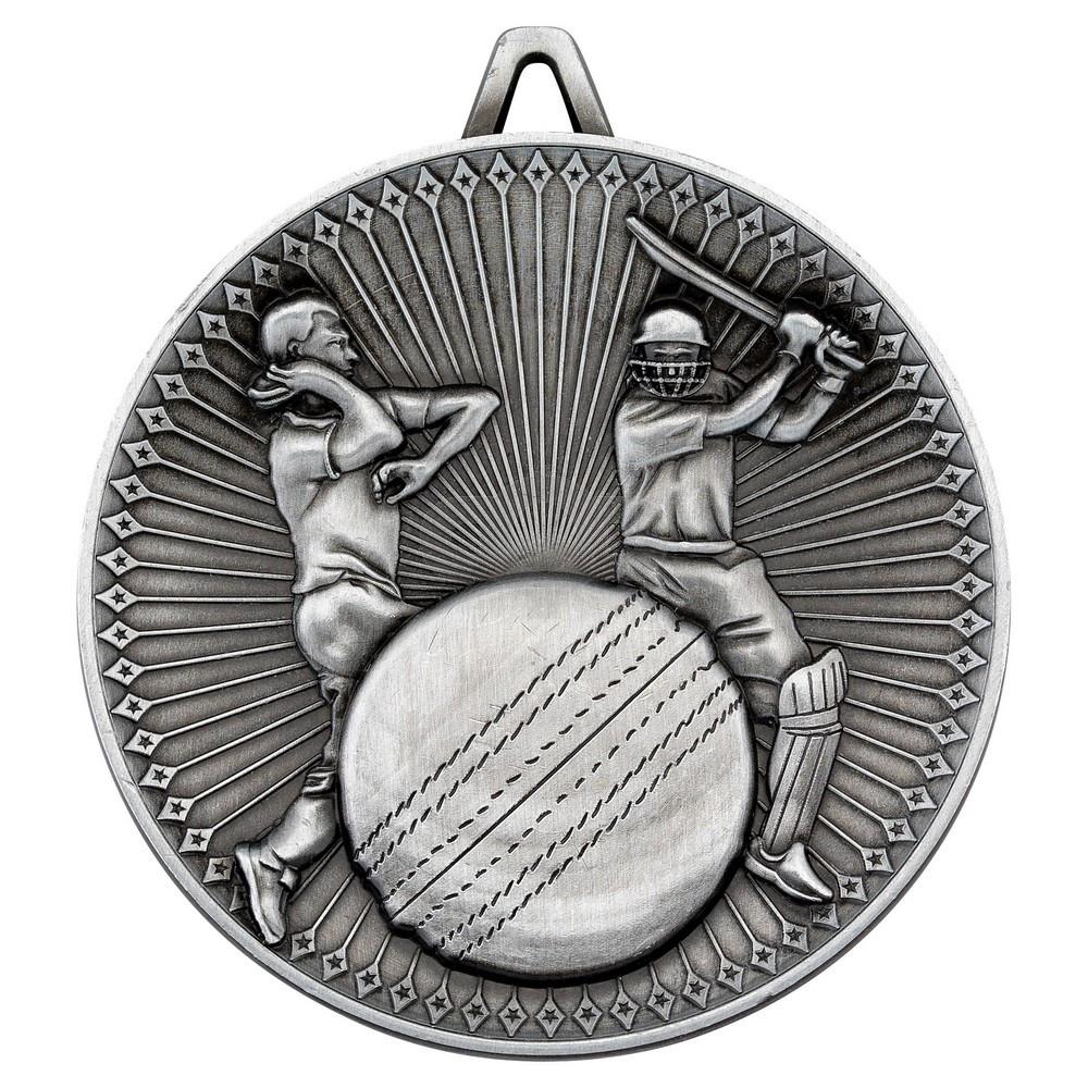 Cricket Deluxe Medal - Antique Silver