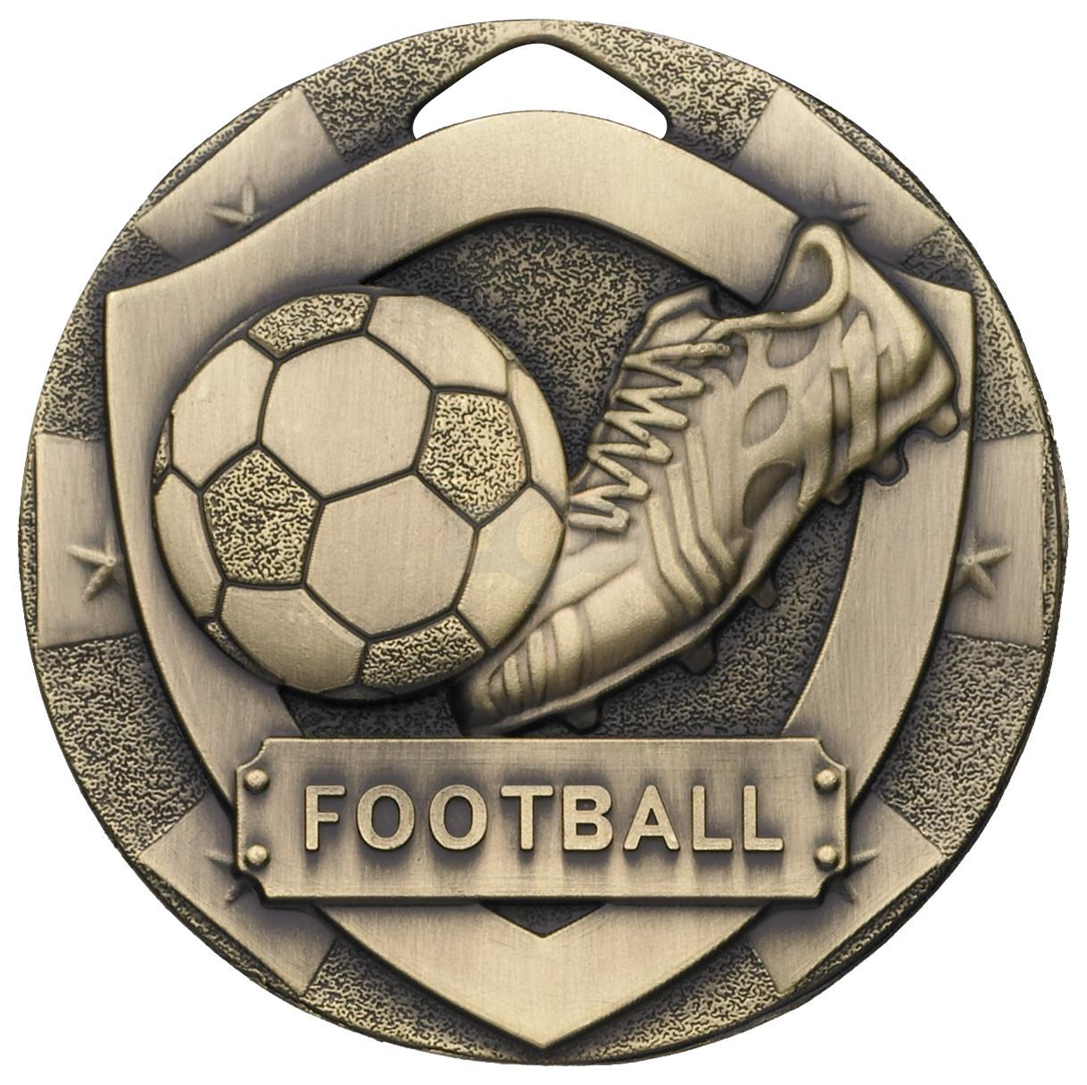 Bronze Football Mini Shield Medal