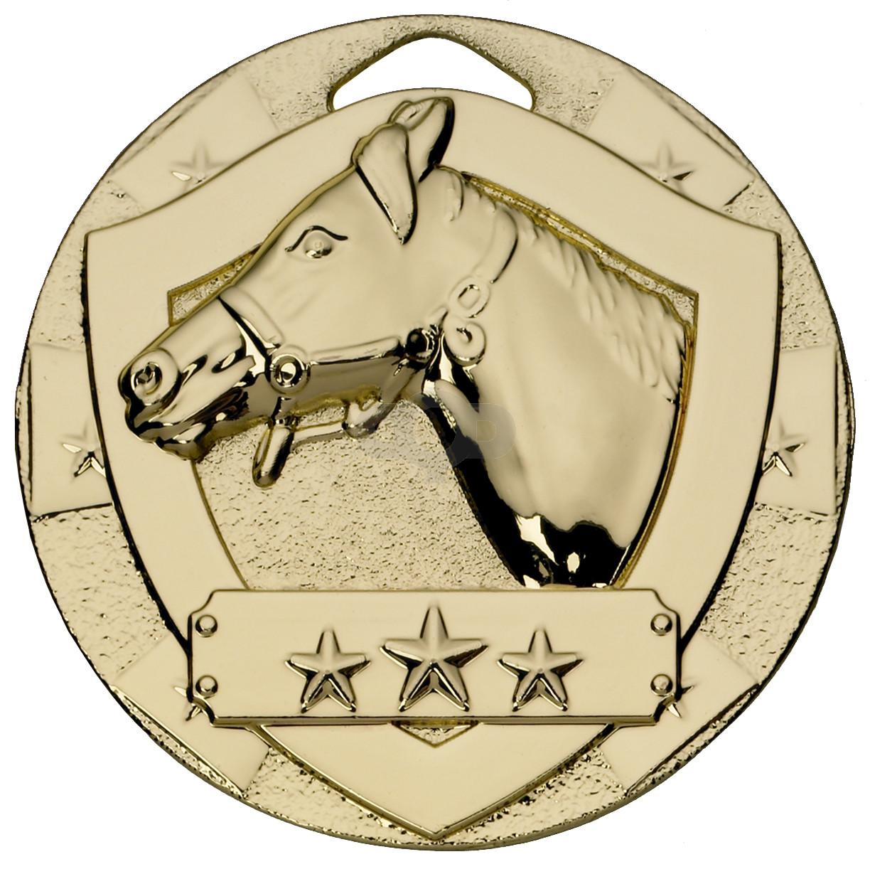 Gold Equestrian Mini Shield Medal