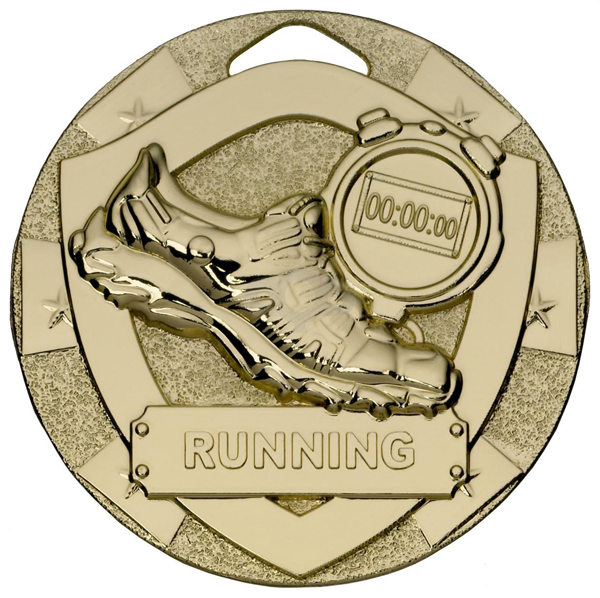 Gold Running Mini Shield Medal