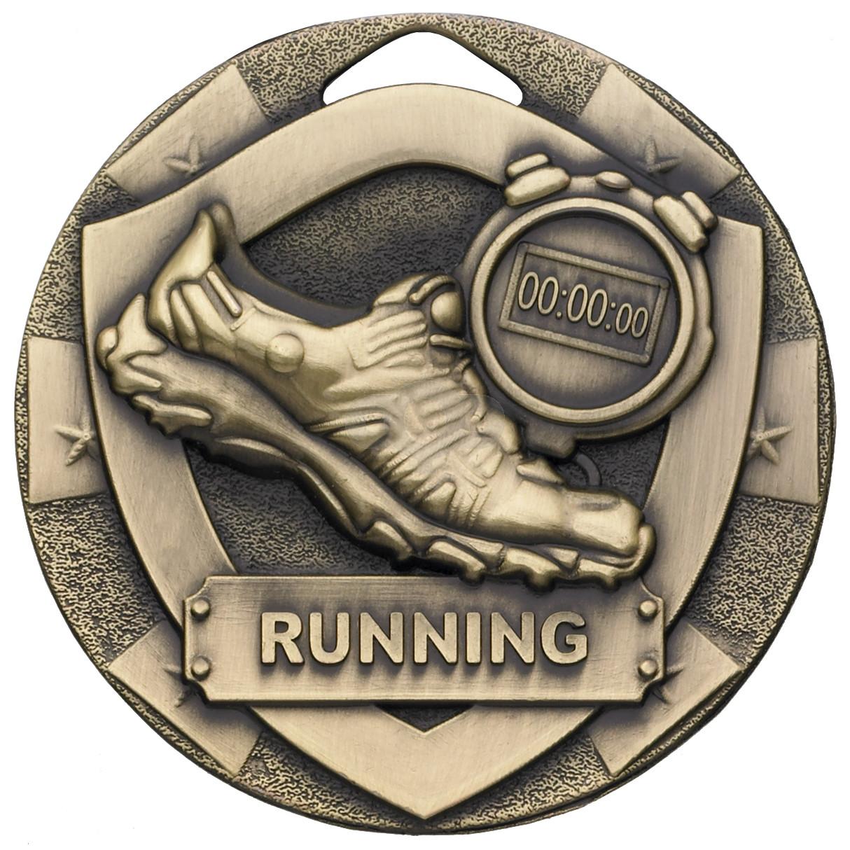 Bronze Running Mini Shield Medal