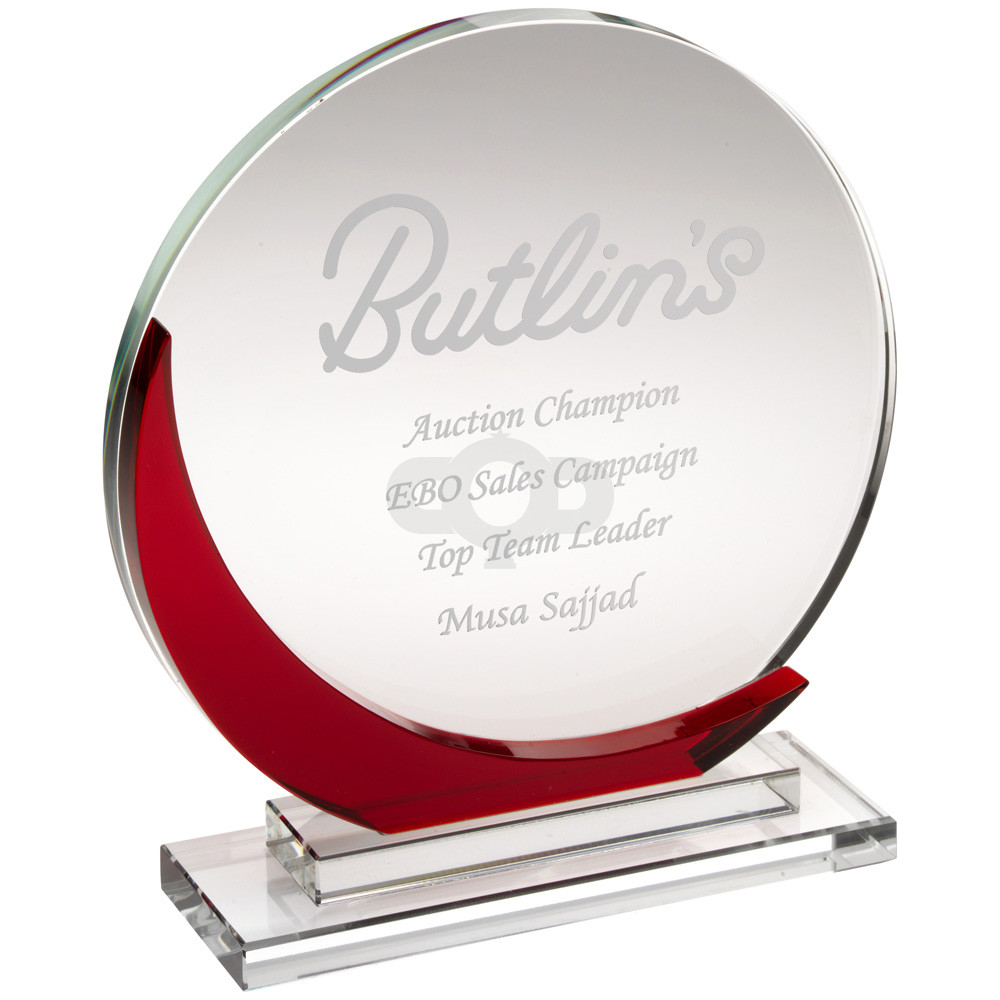 Clear Glass Round Plaque With Red Accent