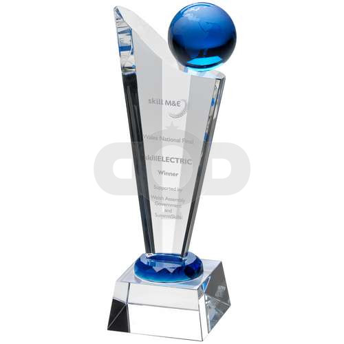 Clear Glass Victory Plaque With Blue Globe