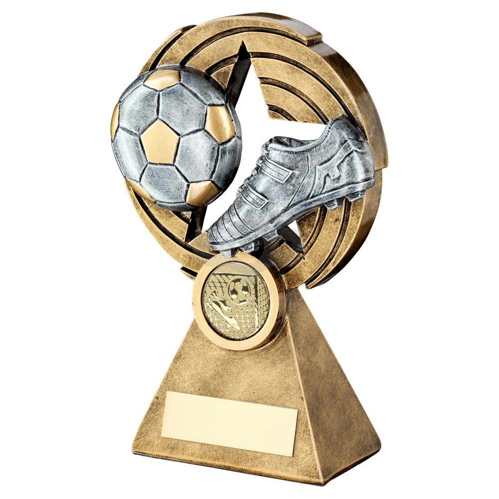 Bronze & Pewter Football And Boot On Star Holed Spiral Trophy