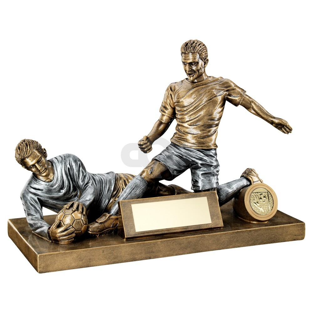 Bronze & Pewter Male Football Figure And Goalkeeper Trophy