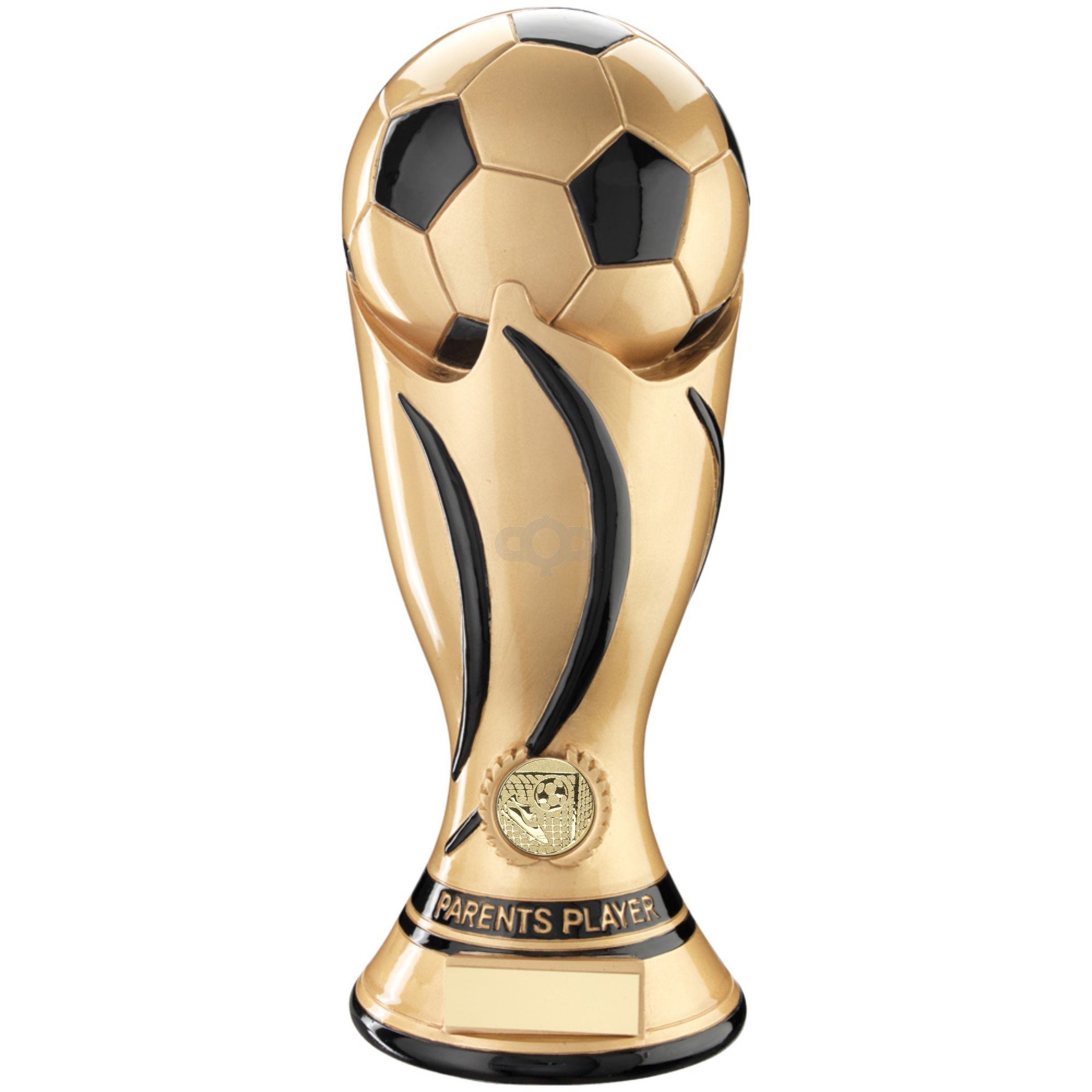 Gold & Black Football Swirl Column Trophy  - Parents Player