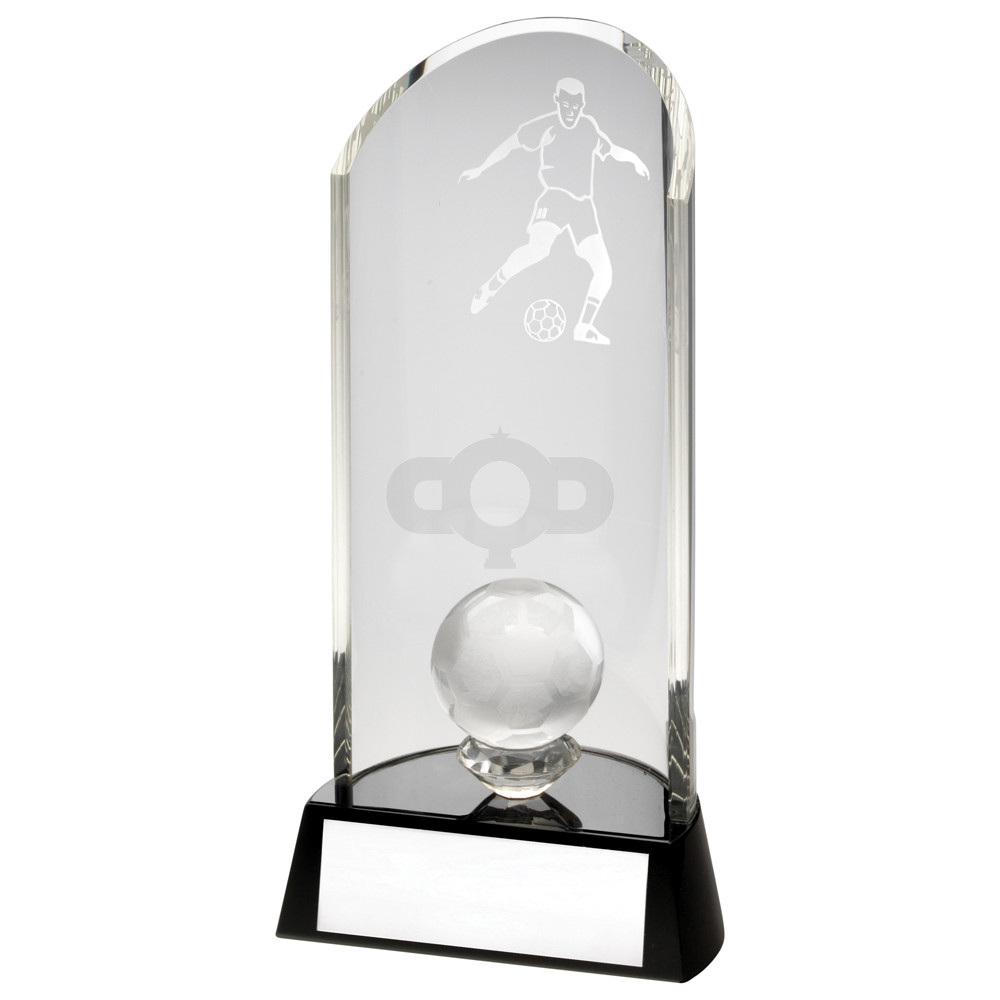 Clear Glass Football Lasered Curve Column Ball On Black Base Trophy