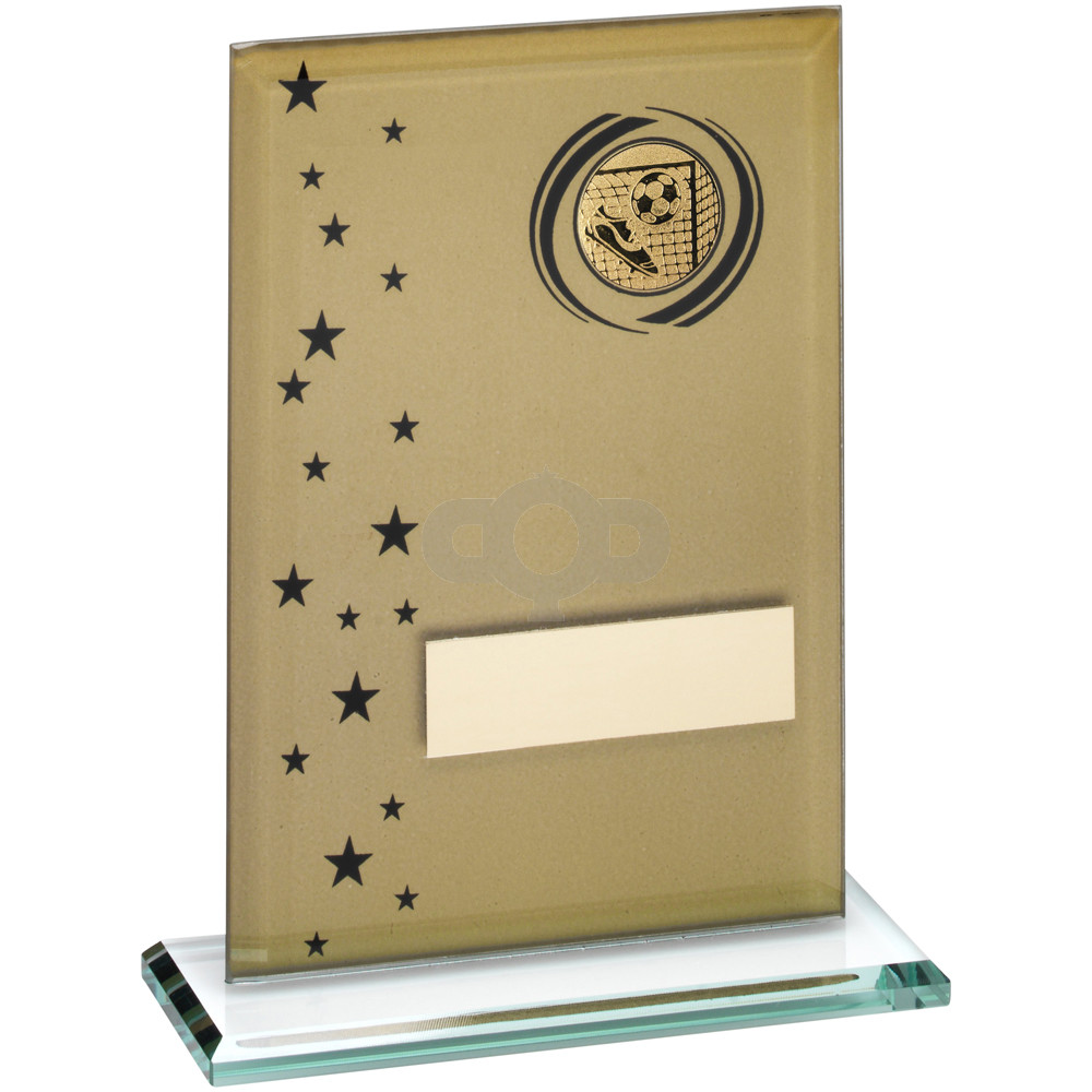 Printed Glass Rectangle With Football Insert Trophy