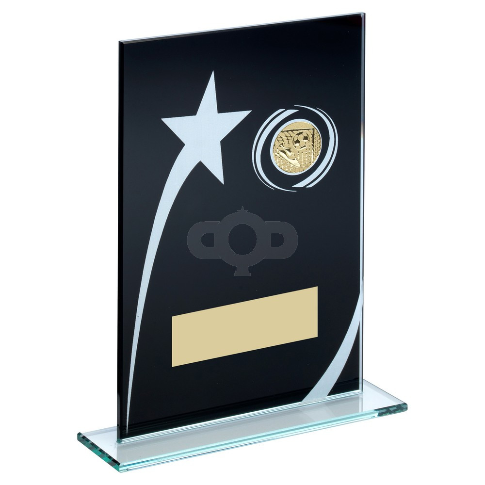 Black & White Printed Glass Plaque With Football Insert Trophy