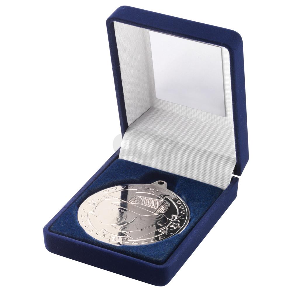 Blue Velvet Box and 50mm Medal Football Trophy